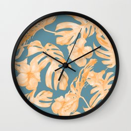Island Hibiscus Palm Coral Teal Blue Wall Clock