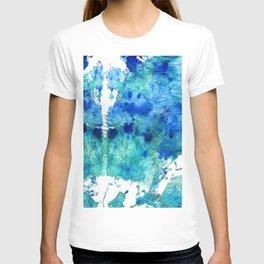 Blue And Aqua Abstract - Wishing Well - Sharon Cummings T-shirt