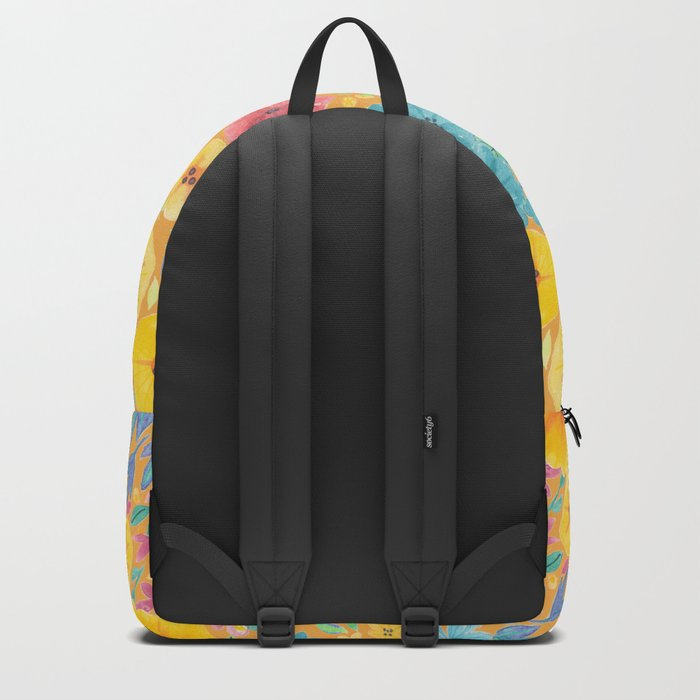 Floral watercolor pattern in yellow Backpack