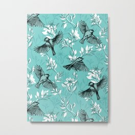 Flowers and Flight in Monochrome Teal Metal Print