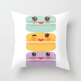 Kawaii macaroon funny orange blue lilac cookie with pink cheeks with pink cheeks and big eyes Throw Pillow