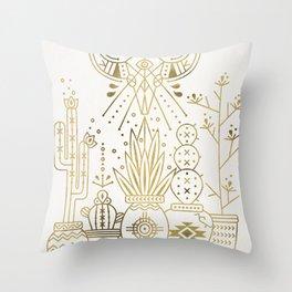 Santa Fe Garden – Gold Ink Throw Pillow