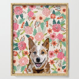 Australian Cattle Dog red heeler floral pet portrait art print and dog gifts Serving Tray