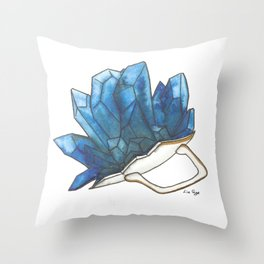 Blue Broken Teacup Geode Throw Pillow