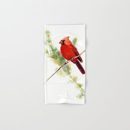 Cardinal Bird, Christmas decor gift Hand & Bath Towel