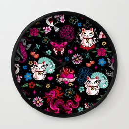 Lucky Cat Maneki Neko , Dragons and Koi fish Wall Clock