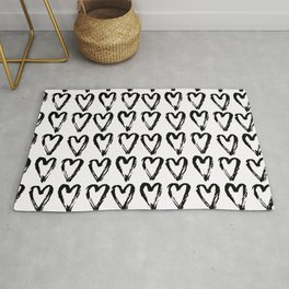 Black & White-Love Heart Pattern - Mix & Match with Simplicty of life Rug