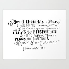 Jeremiah 29:11 Art Print