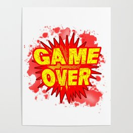 Game Over Cartoon Comic Explosion Poster