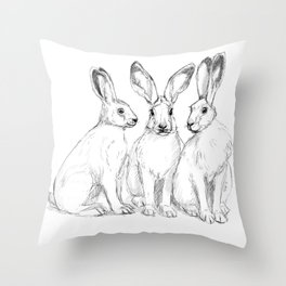 Three Hares sk131 Throw Pillow