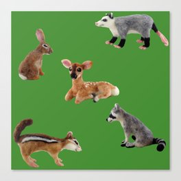 Backyard Critters in Green Canvas Print