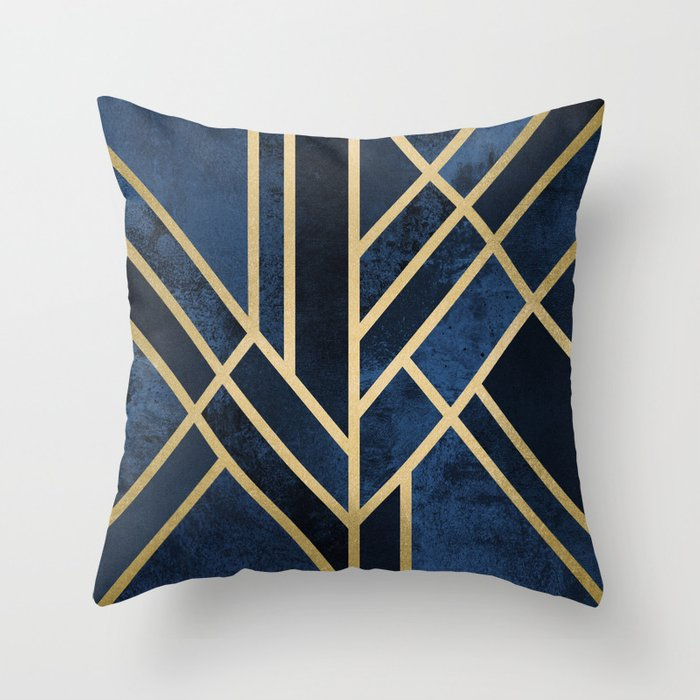 Art Deco Throw Pillows.Art Deco Midnight Throw Pillow By Elisabethfredriksson