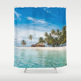 Huts on the San Blas Islands, Panama Shower Curtain