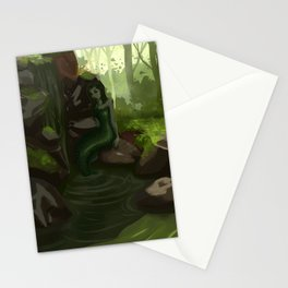 Water nymph by the waterfall Stationery Cards