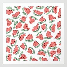 Modern Artsy Watercolor Coral Mint Black Watermelon Art Print