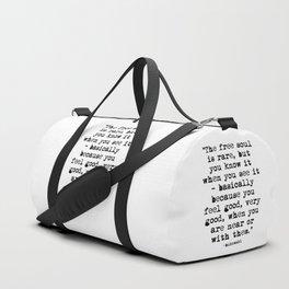 Charles Bukowski Quote Free Soul Duffle Bag