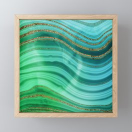 Ocean Blue And Green Mermaid Glamour Marble Framed Mini Art Print
