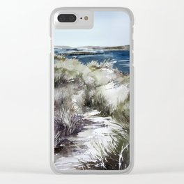 Cold seashore grass Clear iPhone Case