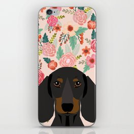 Dachshund florals cute pet gifts black and tan dachshund gifts for dog lover with weener dog iPhone Skin