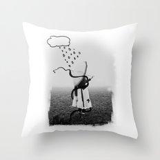 Holding Umbrella Throw Pillow