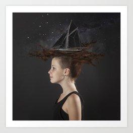 Sailing - Black Art Print
