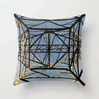 the wire Throw Pillows featuring Metal Wire by Lia Bernini