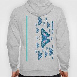 CONTEMPORARY LAGOON BLUE BUTTERFLIES MODERN ART Hoody