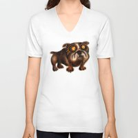 bulldog V-neck T-shirts featuring Bulldog by Riccardo Pertici