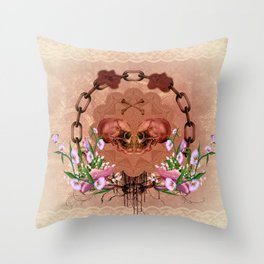 Awesome skulls with flowers Throw Pillow