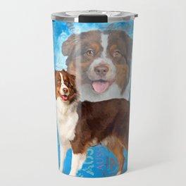 Red Australian Shepherd dogs - Aussie Travel Mug