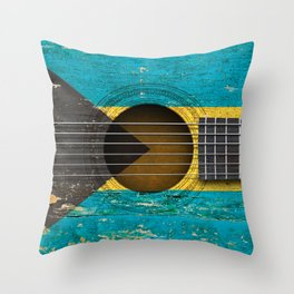 Old Vintage Acoustic Guitar with Bahamas Flag Throw Pillow