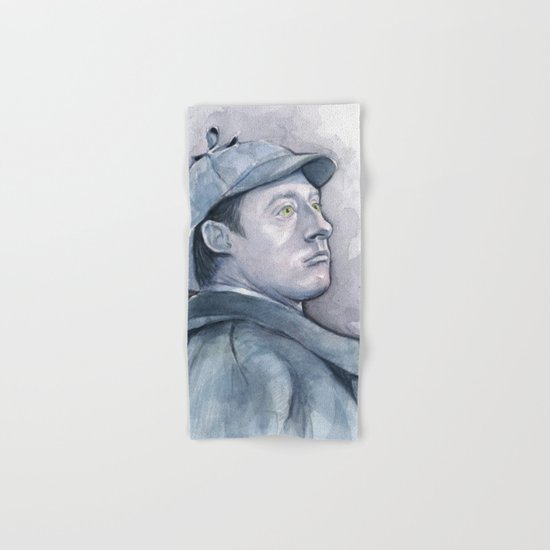 Data as Sherlock Holmes Watercolor TNG Portrait Hand & Bath Towel