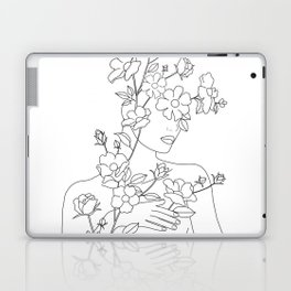 Minimal Line Art Woman with Wild Roses Laptop & iPad Skin