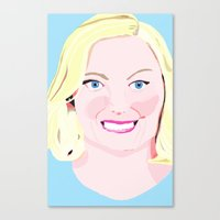 leslie knope Canvas Prints featuring Leslie Knope by cuterthanababyandamonkeycombined