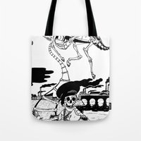 led zeppelin Tote Bags featuring Zeppelin by Saskia Juliette