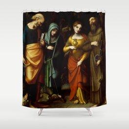 "Antonio Allegri da Correggio ""Saints Peter, Martha, Mary Magdalen, and Leonard"" Shower Curtain"