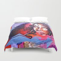 grafitti Duvet Covers featuring Lady  by haroulita