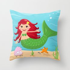 Mermaid from the Sea series Throw Pillow