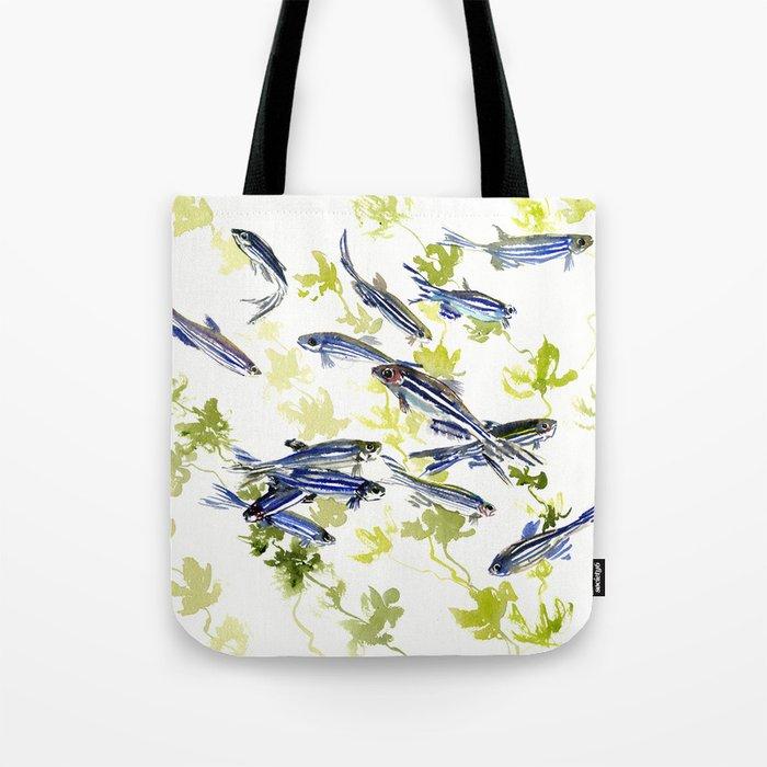 Fish Blue green fish design zebra fish, Danio aquarium Aquatic design underwater scene Tote Bag