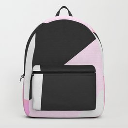 Abstract geometrical pastel pink black triangles Backpack
