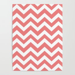 Light coral - pink color -  Zigzag Chevron Pattern Poster