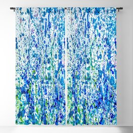 Splattered Blue! Transparent Floral Abstract - Painting Blackout Curtain