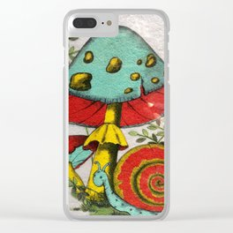Snail and mushrooms Clear iPhone Case