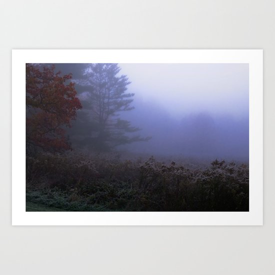 Early morning in a foggy and frosty autumn morning at Sharron Woods Art Print