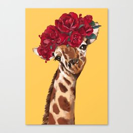 Giraffe with Rose Flower Crown in Yellow Canvas Print