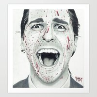 american psycho Art Prints featuring American Psycho by TYP Portraits