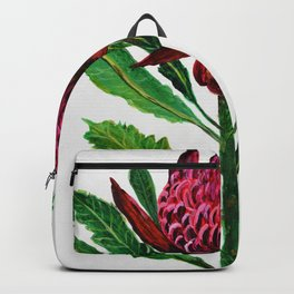 Red Flowers Floral Waratah Protea, botanical Backpack