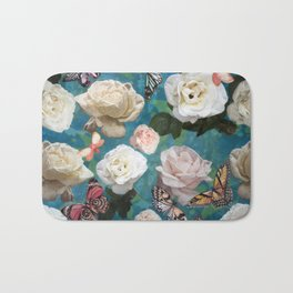 White Roses and Butterflies Bath Mat