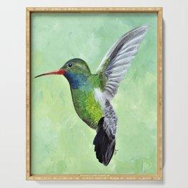 Green Hummingbird Art, Small Bird Painting, Birds and Berry Studio Serving Tray