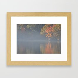 Misty Fall Lake Framed Art Print